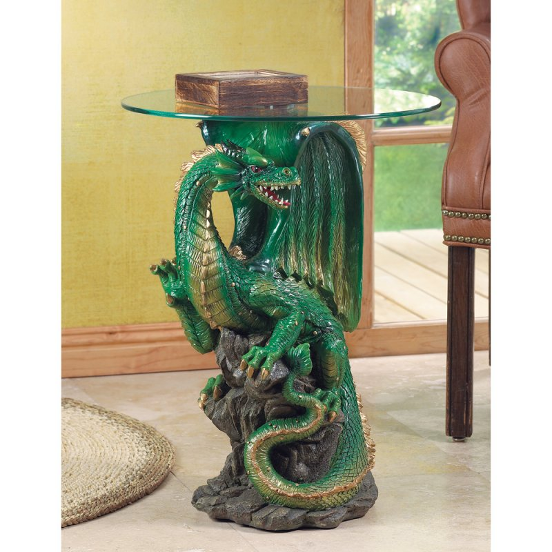 Green Dragon Figural End, Accent Table with Tempered Glass Top