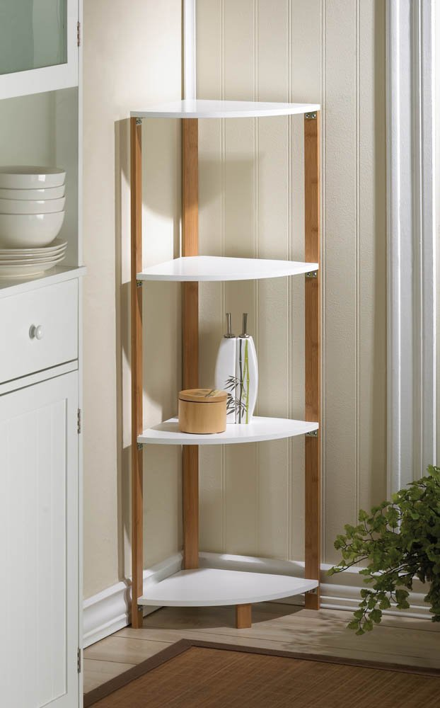 Bamboo Corner Shelf Display Stand with White Shelves