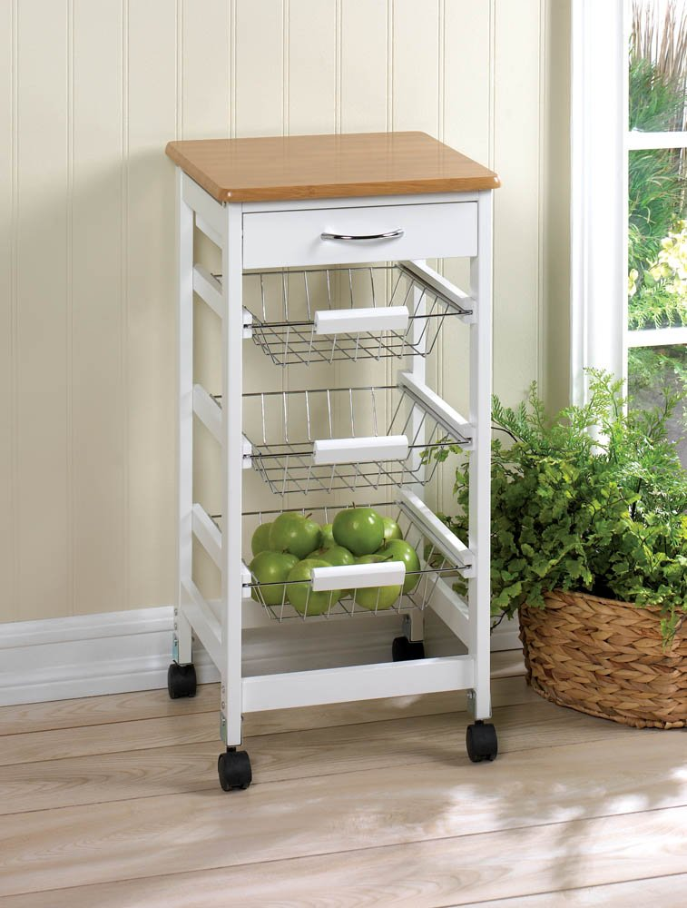 Bamboo Kitchen Trolley Side Table with Storage Baskets & Drawer