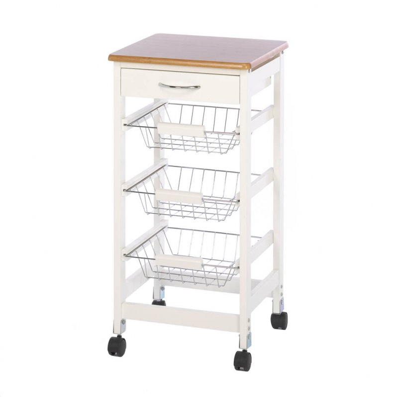 Image 1 of Bamboo Kitchen Trolley Side Table with Storage Baskets & Drawer