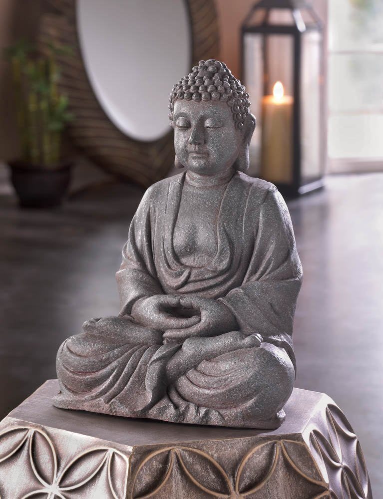 Meditating Zen Buddha Statue Figurine Stone Like Finish