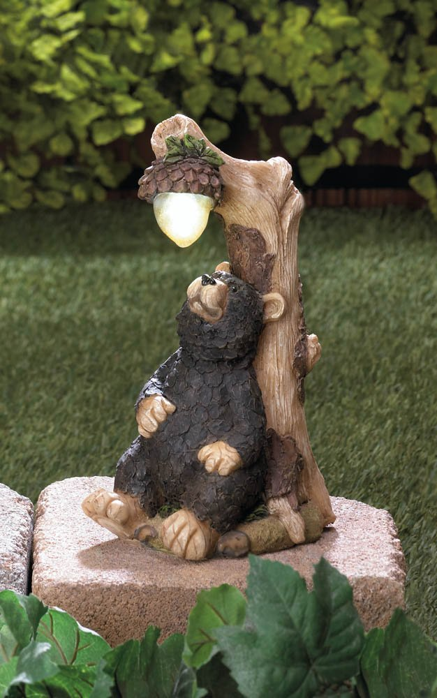 Image 0 of Black Bear with Solar Acorn Garden Statue Figurine