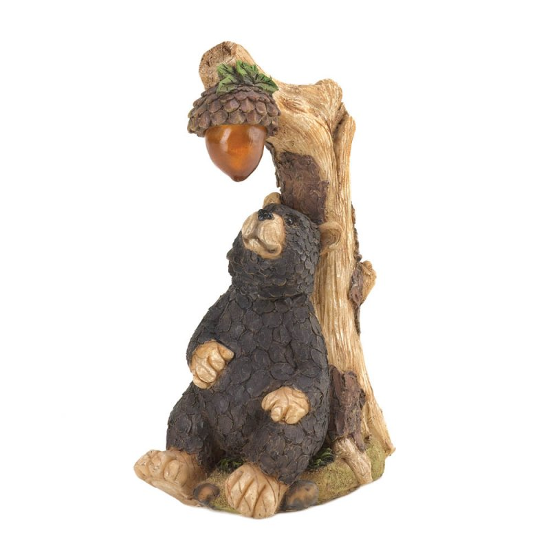 Image 1 of Black Bear with Solar Acorn Garden Statue Figurine