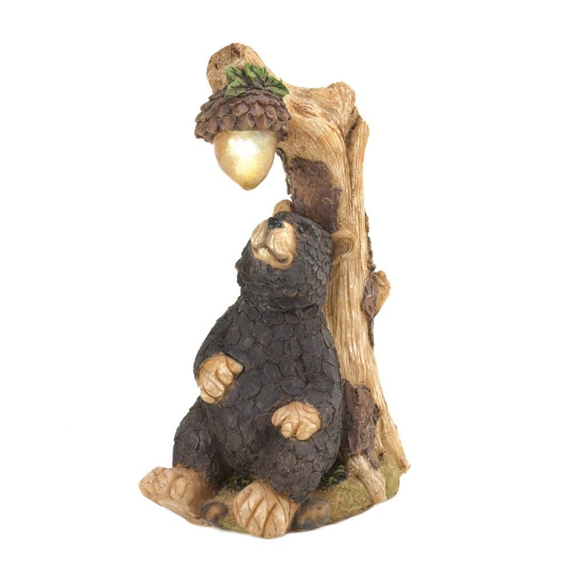 Image 2 of Black Bear with Solar Acorn Garden Statue Figurine