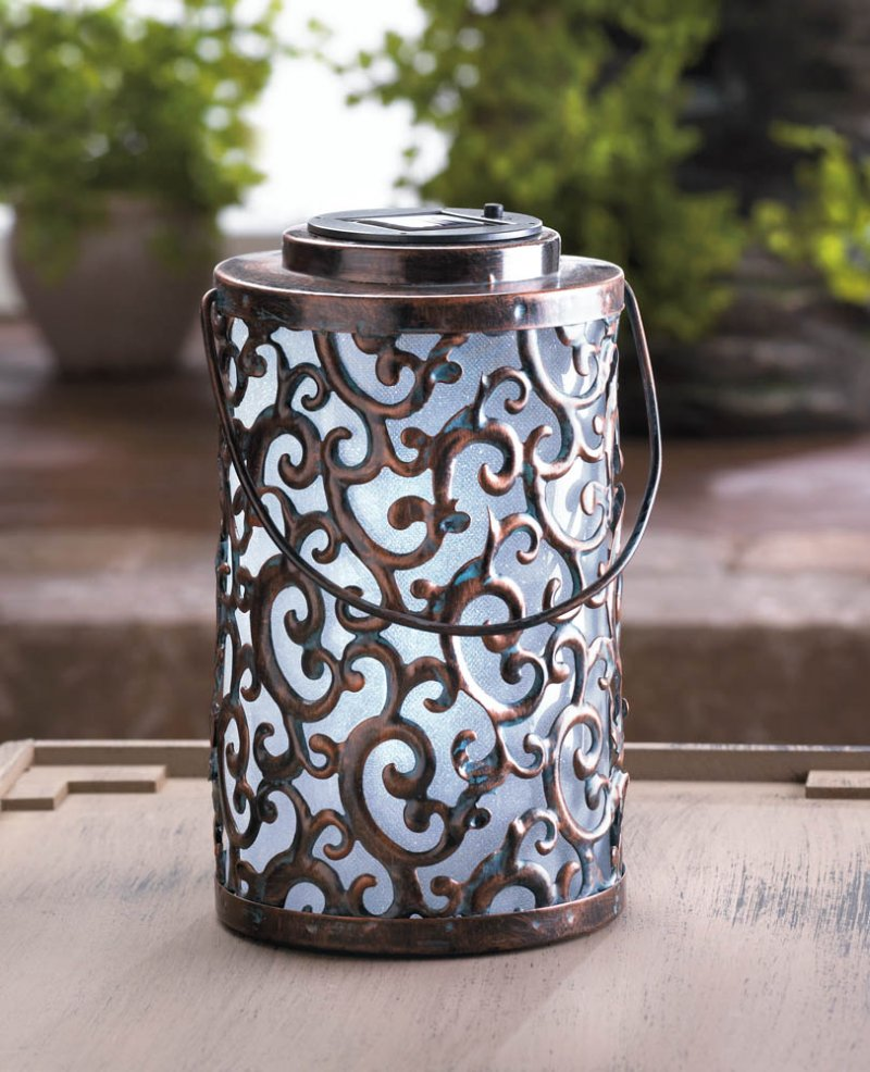 Image 0 of Solar Garden Gate Hanging ot Tabletop Lantern with Swirls & Flourishes