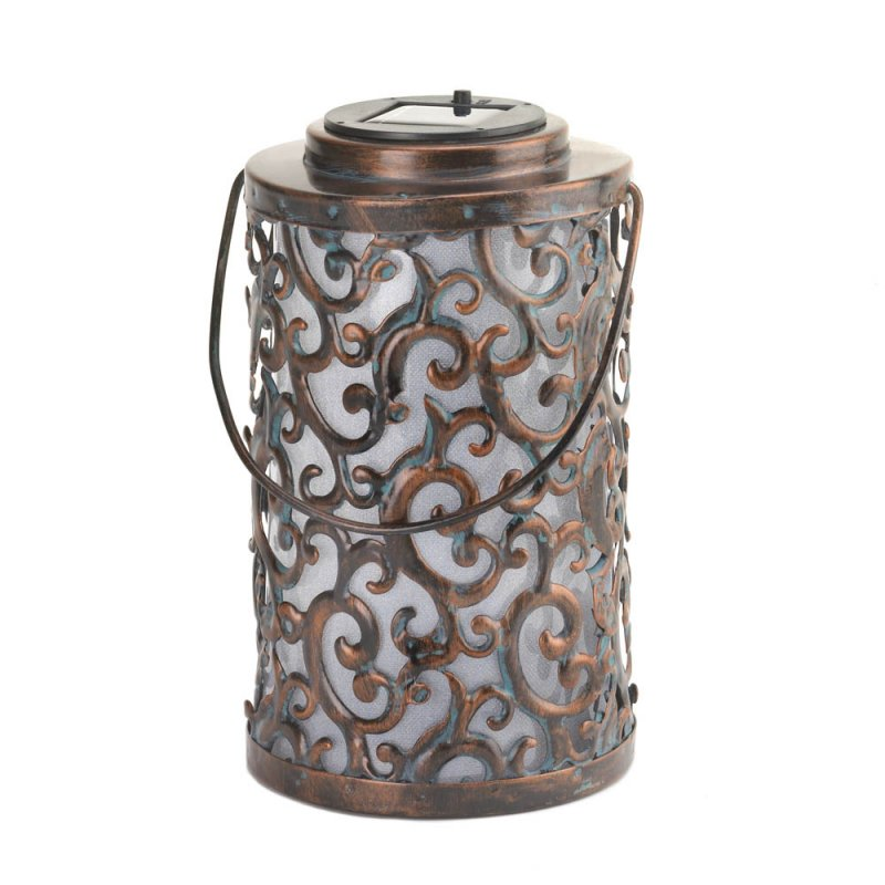 Image 1 of Solar Garden Gate Hanging ot Tabletop Lantern with Swirls & Flourishes