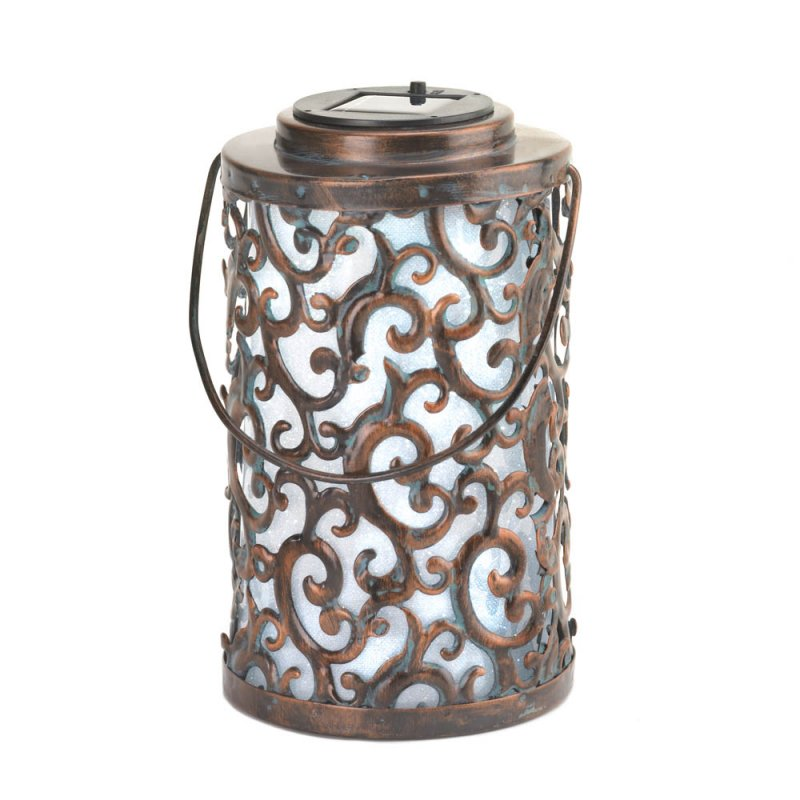 Image 2 of Solar Garden Gate Hanging ot Tabletop Lantern with Swirls & Flourishes