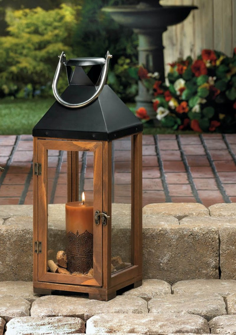 Large Hartford Wooden Pillar Candle Lantern Use indoors or Outdoors