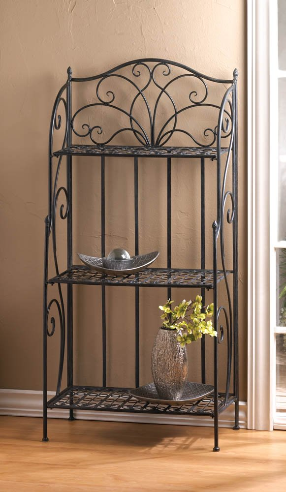 Image 0 of Divine Black Cast Iron Bakers Rack with Three Shelves and Flourishes