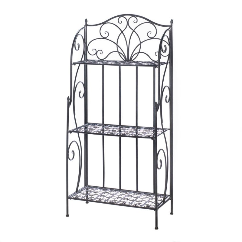 Image 1 of Divine Black Cast Iron Bakers Rack with Three Shelves and Flourishes