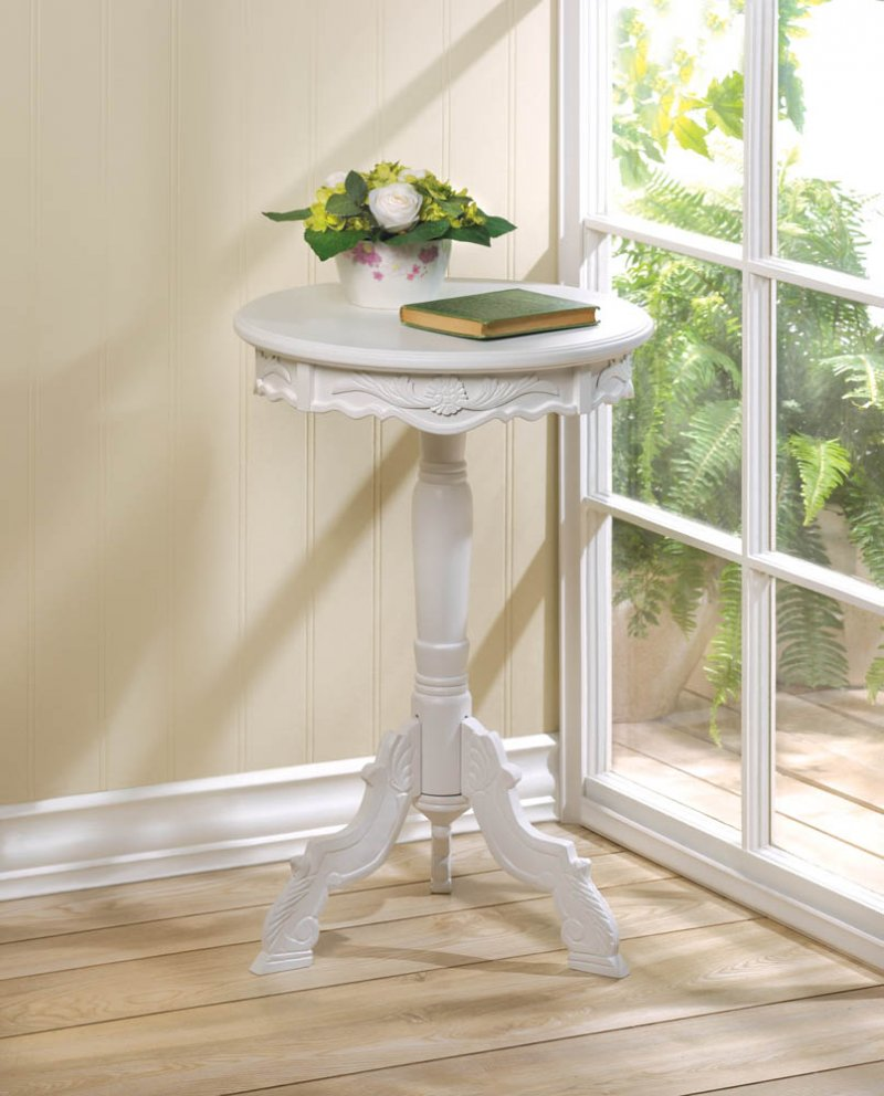 Image 0 of Small White Romantic Rococo Accent, Side, End Table Nightstand