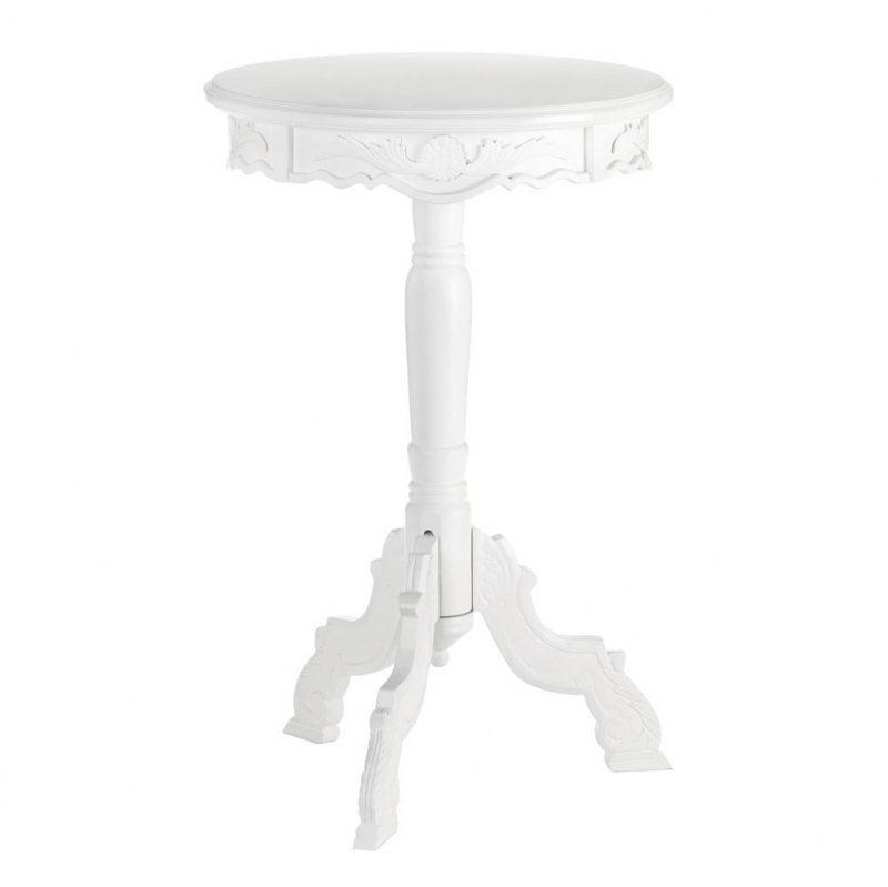 Image 1 of Small White Romantic Rococo Accent, Side, End Table Nightstand