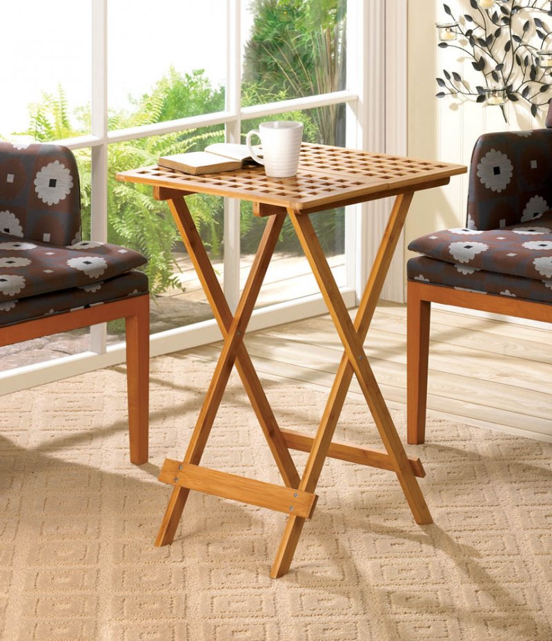 Bamboo TV Folding Tray Stand with Geometric Cutouts