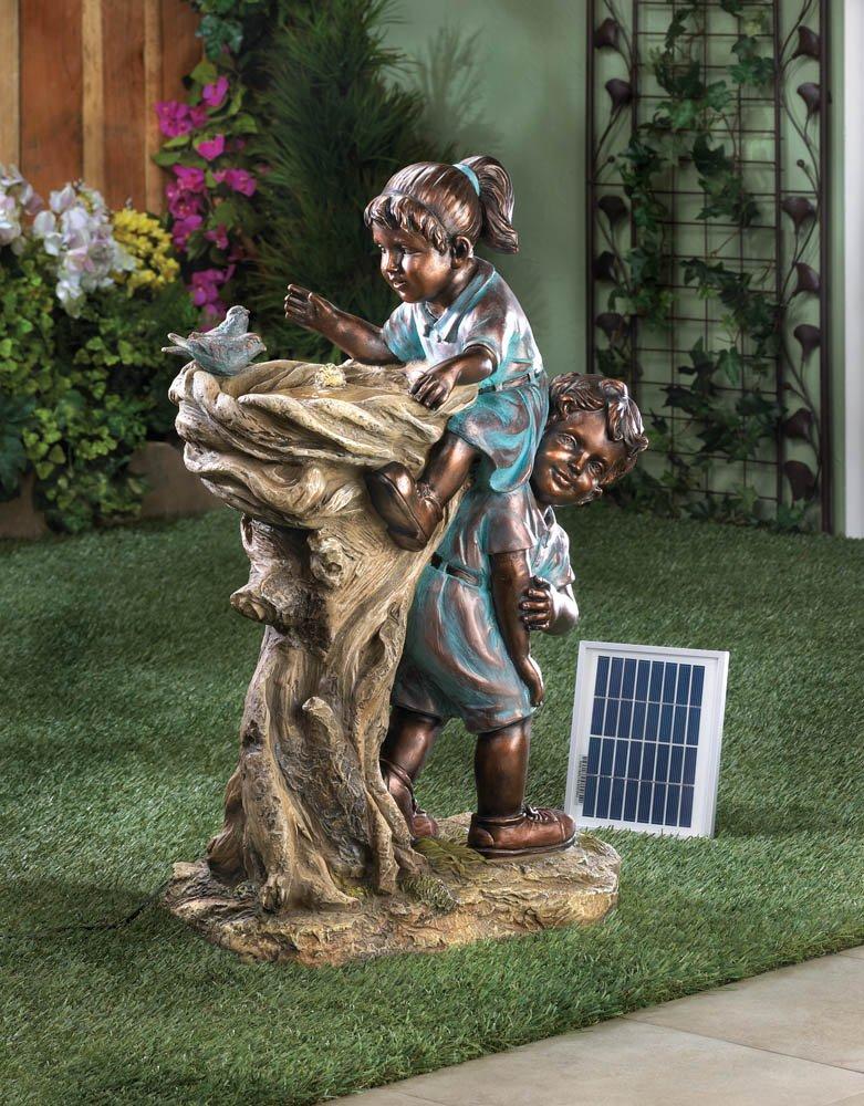 Antiqued Cool Drink Children Solar Garden Fountain