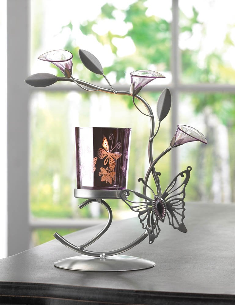 Butterfly & Lily Blooms Silver Candle Holder Stand Metallic Finish on Candle Cup