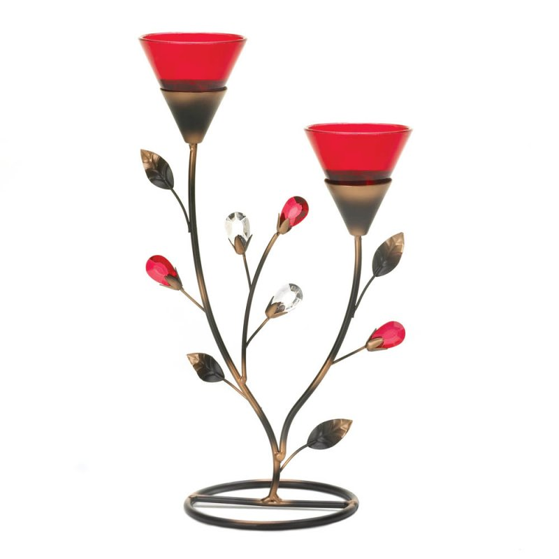 Image 1 of Ruby Red Blooms with Leaves and Faceted Flower Buds Candle Holder Stand