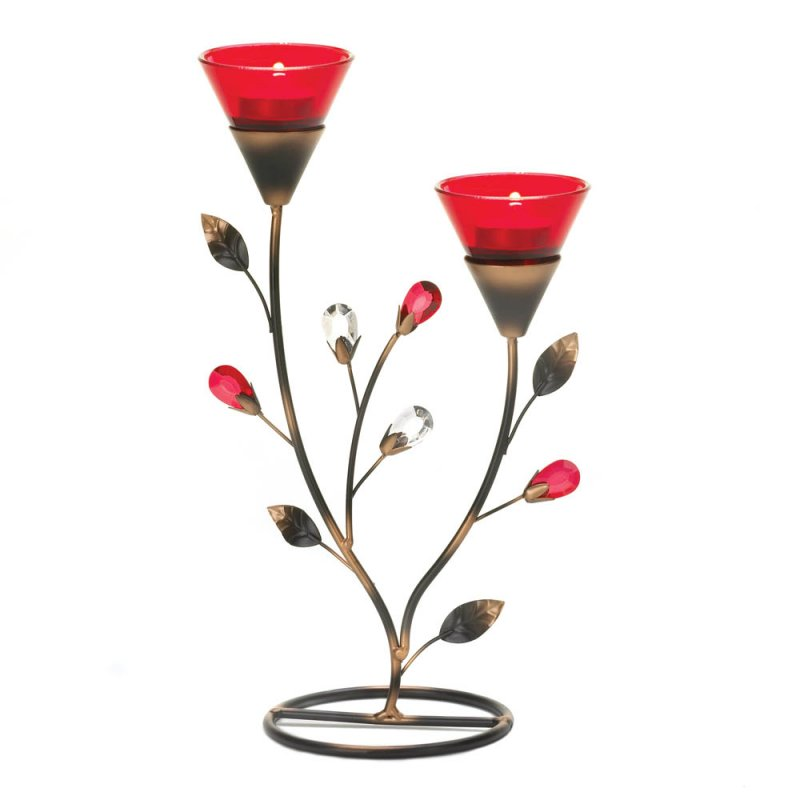 Image 2 of Ruby Red Blooms with Leaves and Faceted Flower Buds Candle Holder Stand