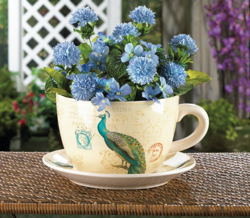 Large Regal Peacock Teacup and Saucer Planter Drain Hole Bottom of Teacup