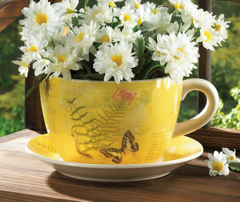 Large Yellow Butterfly Theme Teacup & Saucer Planter Drain Hole Bottom Teacup