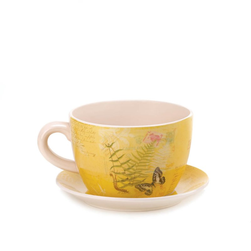 Image 1 of Large Yellow Butterfly Theme Teacup & Saucer Planter Drain Hole Bottom Teacup