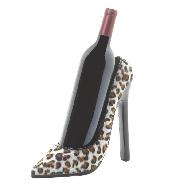 Image 0 of Chic Leopard Print High Heel Shoe Wine Bottle Holder
