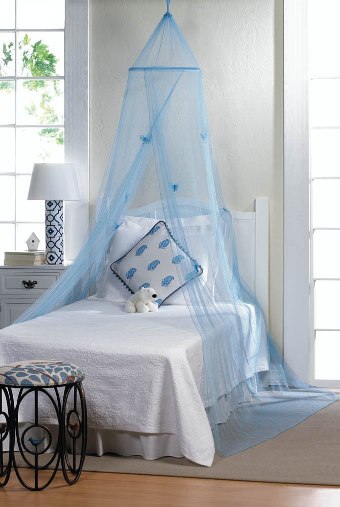 Blue Butterfly Bed Netting Canopy Hung From Ceiling Mounting Hardware Included