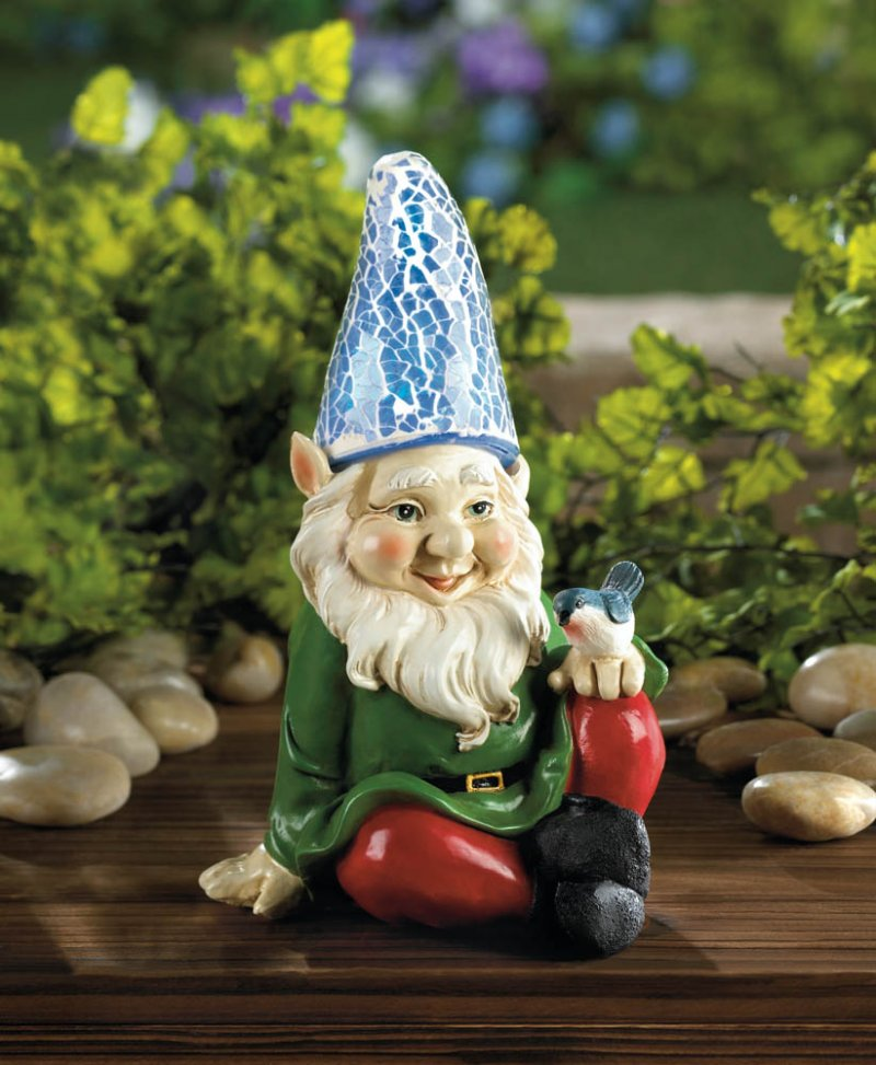 Image 1 of Cheery Solar Garden Gnome with Bluebird on Knee Blue Solar Hat Lights Up