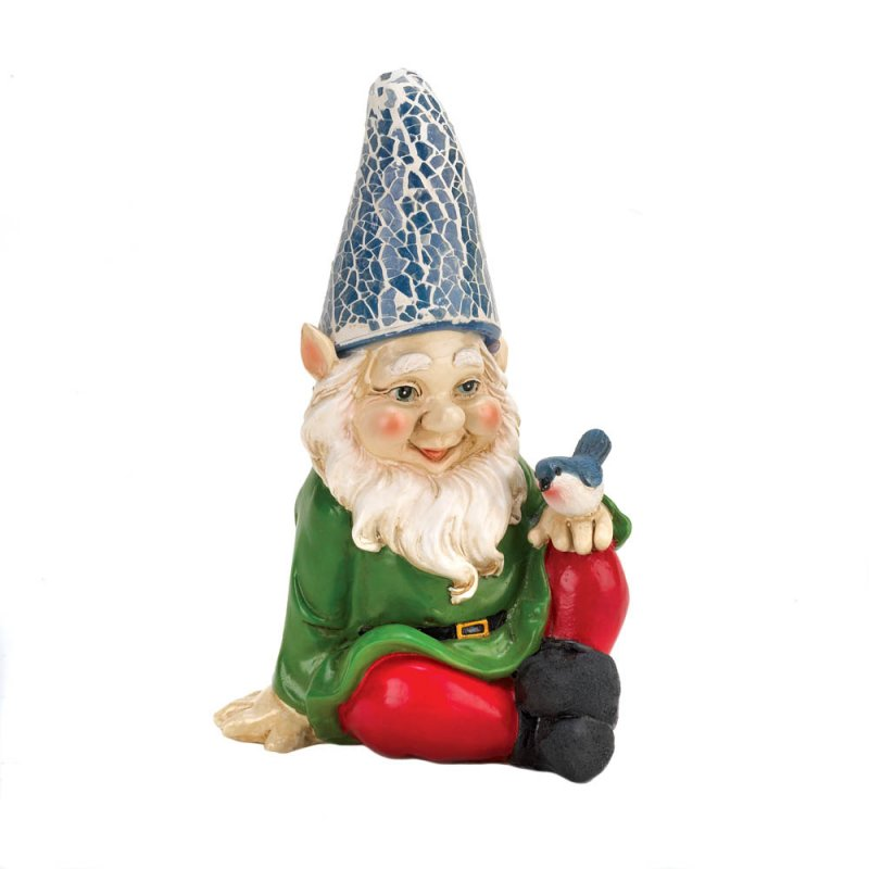Image 2 of Cheery Solar Garden Gnome with Bluebird on Knee Blue Solar Hat Lights Up