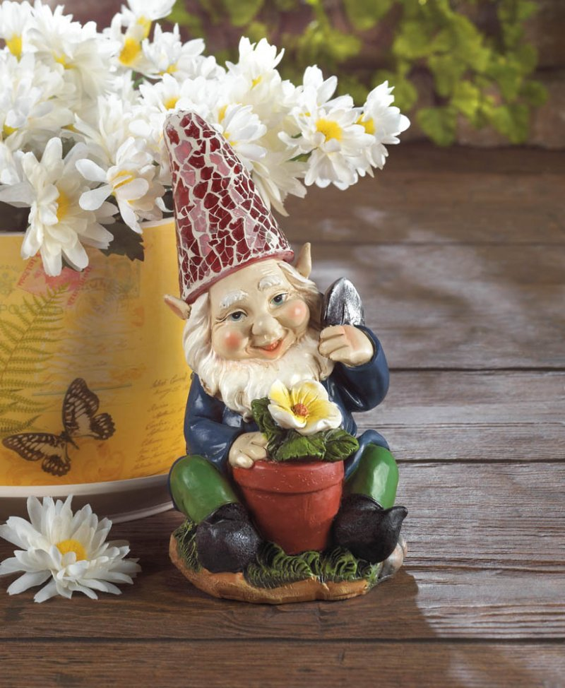 Image 0 of Solar Gardening Gnome with Flowerpot Red Solar Hat Lights Up