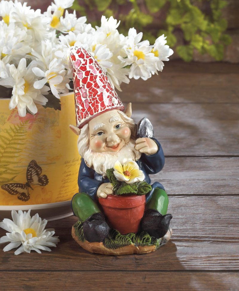 Image 1 of Solar Gardening Gnome with Flowerpot Red Solar Hat Lights Up
