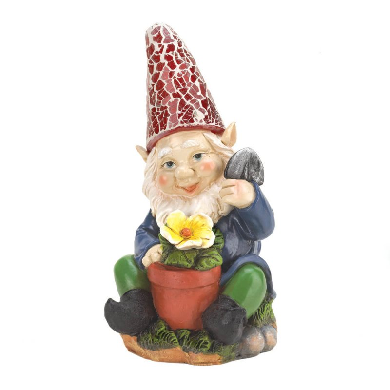Image 2 of Solar Gardening Gnome with Flowerpot Red Solar Hat Lights Up