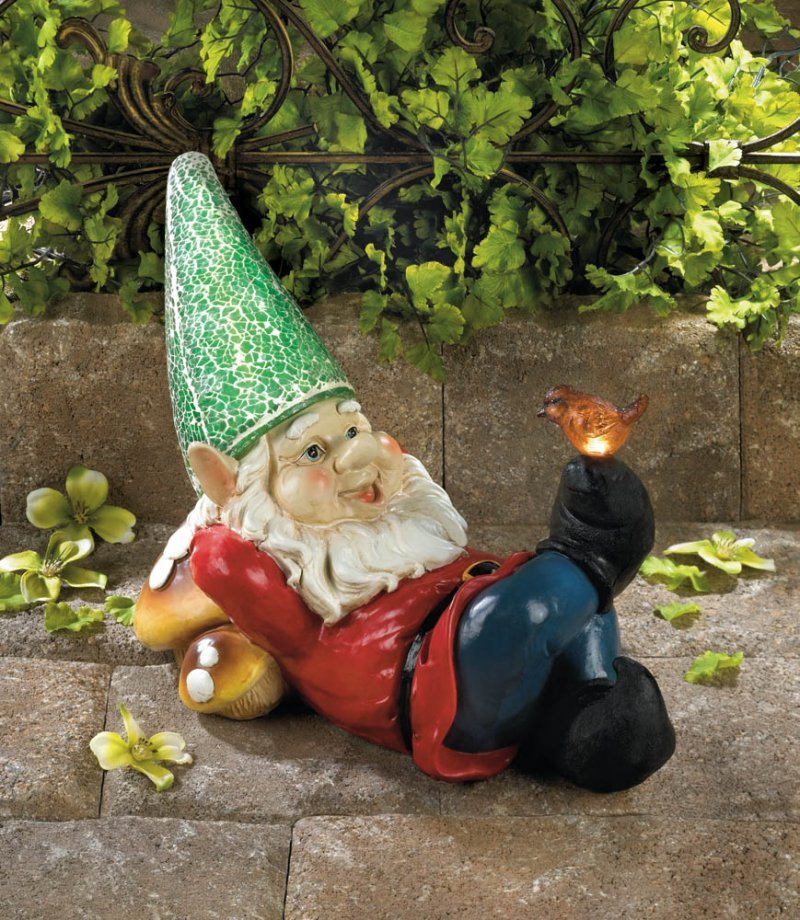 Image 1 of Solar Lazy Garden Gnome Green Solar Hat & Bird on Toe Lights Up