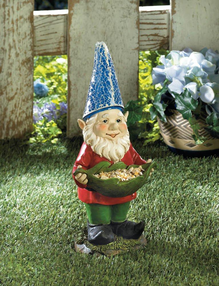 Solar Bird Feeder Standing Garden Gnome Blue Hat Lights Up