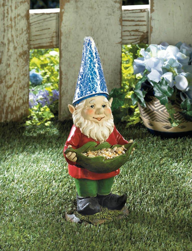 Image 1 of Solar Bird Feeder Standing Garden Gnome Blue Hat Lights Up