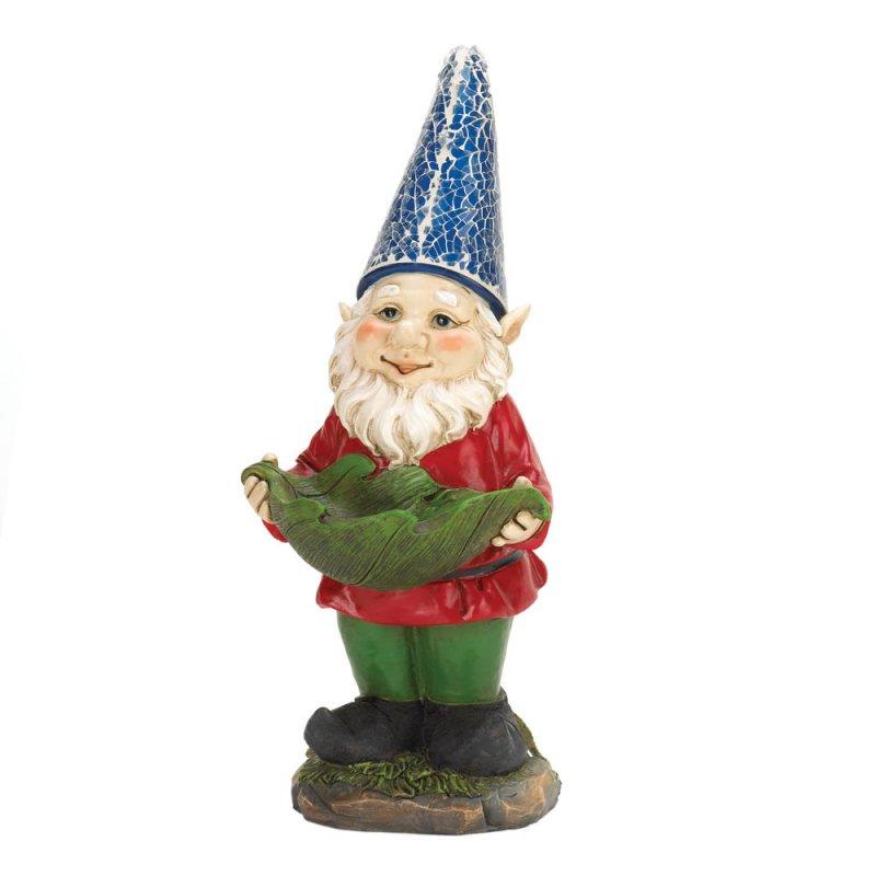 Image 2 of Solar Bird Feeder Standing Garden Gnome Blue Hat Lights Up