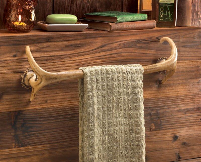 Image 0 of Faux Antler Bath Towel Holder Rack Western Decor