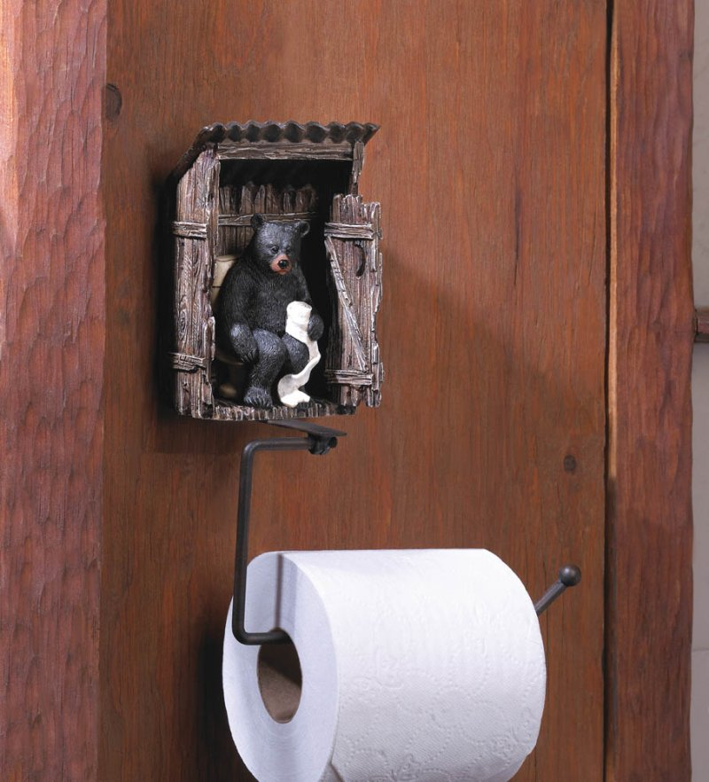 Black Bear in Outhouse Toilet Paper Holder Lodge Cabin Decor