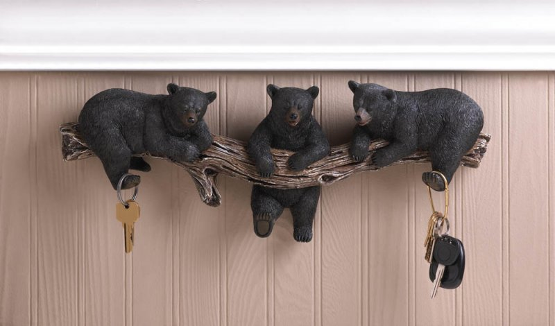 Black bear trio wall hooks for keys kitchen bath for Rustic bear home decor
