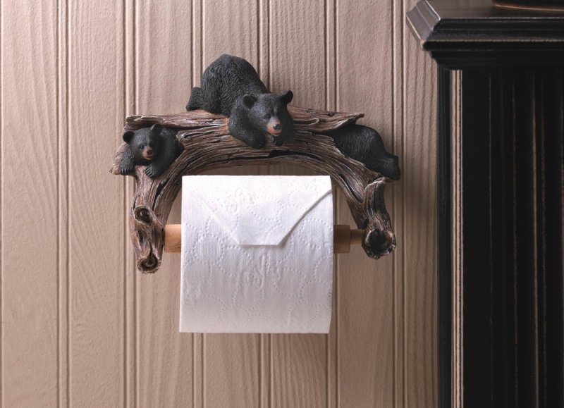 Image 0 of Three Bears on Hollow Log Toilet Paper Holder Lodge Cabin Decor