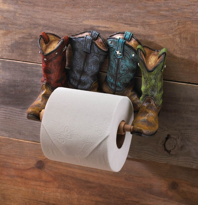Image 0 of Four Colorful Western Cowboy Boots Toilet Paper Holder Western Decor