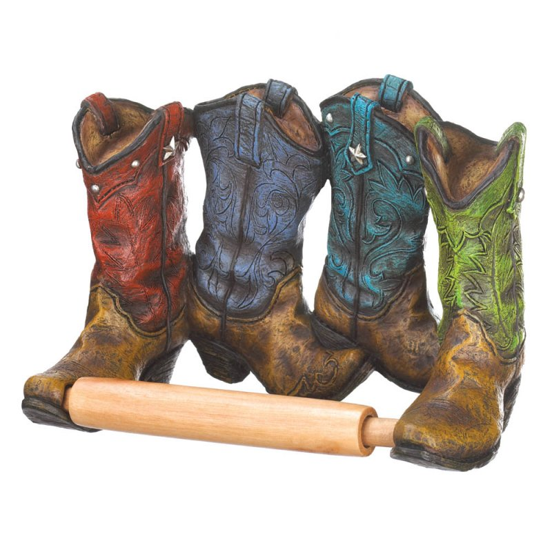 Image 2 of Four Colorful Western Cowboy Boots Toilet Paper Holder Western Decor