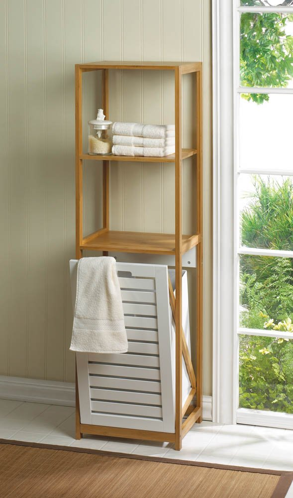 Bamboo Bath, Utility Room Laundry Hamper with 2 Storage Shelves 51'' Tall
