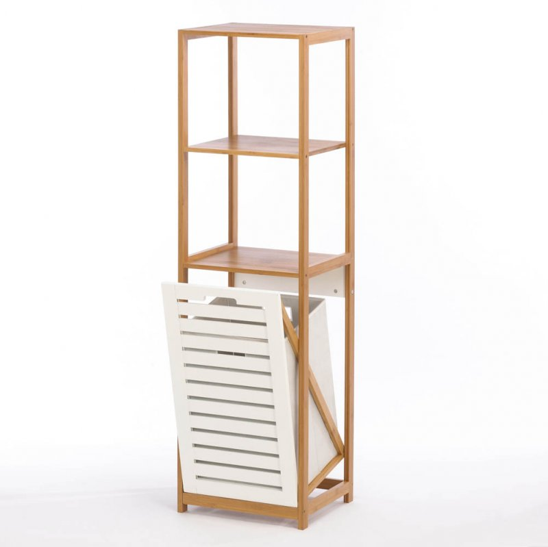 Image 1 of Bamboo Bath, Utility Room Laundry Hamper with 2 Storage Shelves 51'' Tall