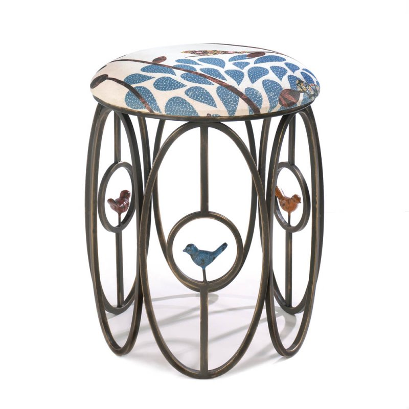 Free as a Bird Garden Bird Themed Vanity Stool, Blue Patterned Seat