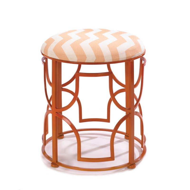 Chic Chevron Padded Seat Vanity Stool or Footstool, Orange Iron Work Frame