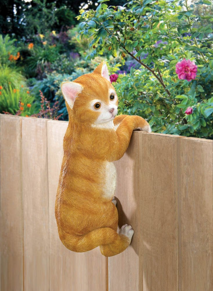Climbing Tabby Cat Hang from Fence, Garden Gate, Potted Plant Garden Decor