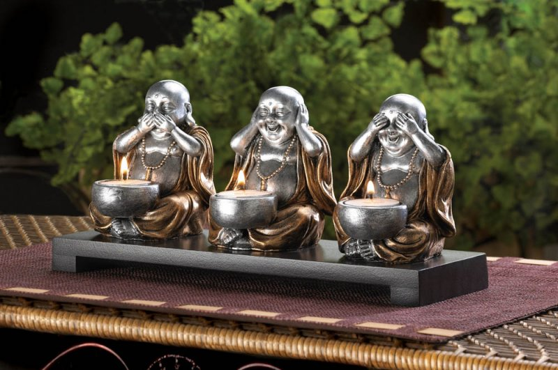 3 Speak, Hear, See No Evil Sitting Silver Buddha's Candle Holder Dark Wood Base