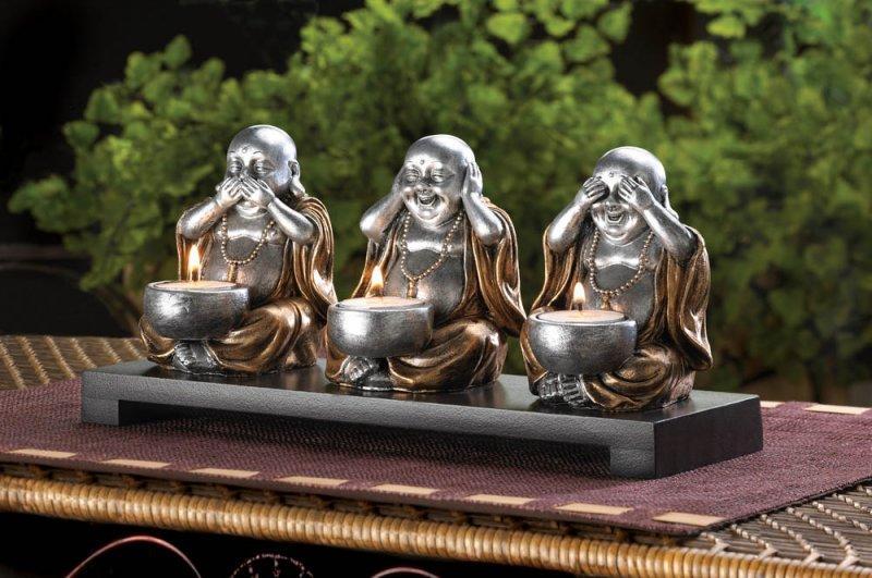 3 Speak, Hear, See No Evil Sitting Silver Buddha's Candle Holder Dark Wood Base