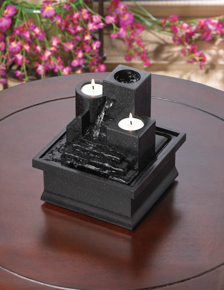Image 1 of LED Temple Steps Tealight Indoor Tabletop Fountain