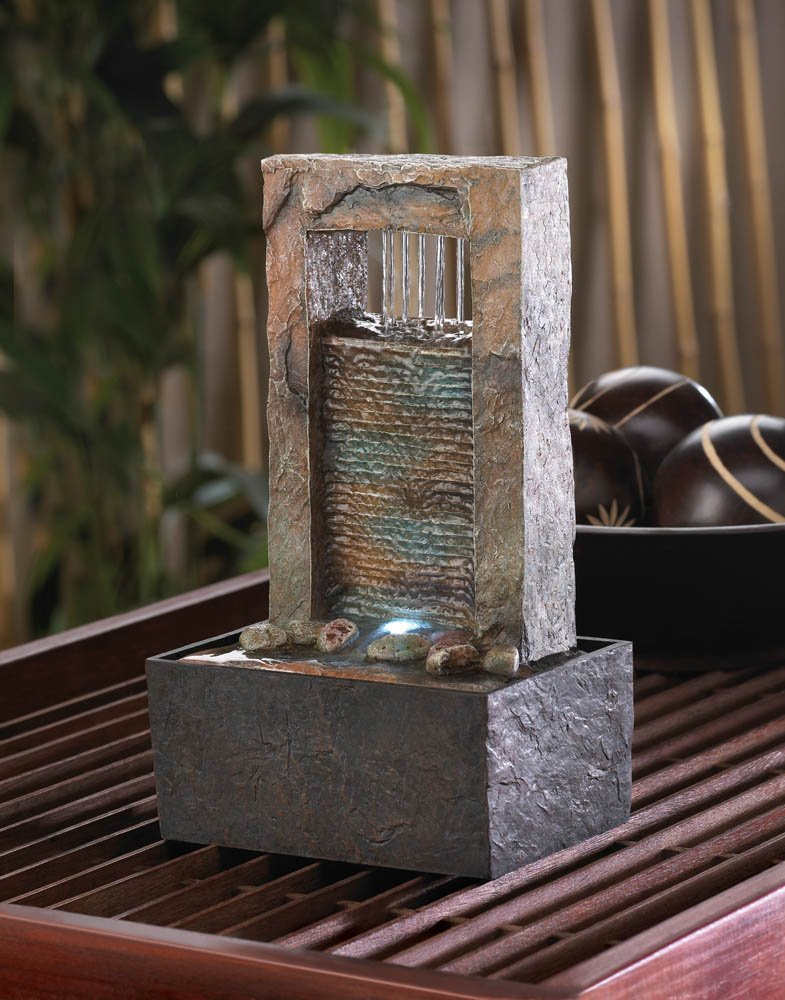 Image 0 of Sounds of Cascading Water LED Lighted Architectural Design Tabletop Fountain